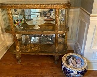 Ornate AntiqueGilted French Ormolo Display Cabinet With Gorgeous Angled Glass Panels
