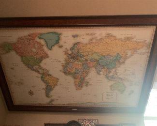 LARGE FRAMED US AND WORLD MAPS