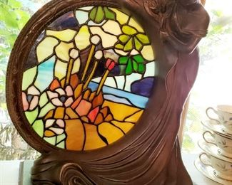 Stained glass and Bronze sculpture  light. Newer,  reproduction