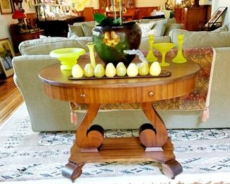 Oval occasional table , vintage yellow glassware