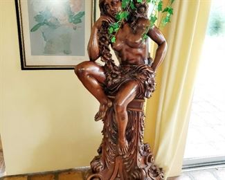 Wood carvings, statues, Baccus girlfriend , approximately 6ft tall