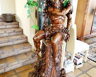 Wood carvings, statues, Baccus, approximately 6ft tall