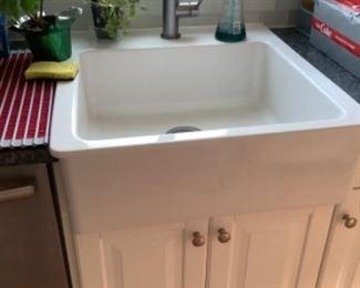 beautiful white farm sink