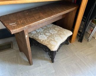 Sweet Antique Bench and Iron Based Foot Stool