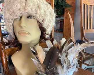 Mannequin Head with Wool Hat and Real Feathers