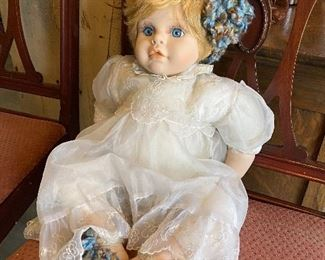 Sweet Doll with Antique Lace Dress and Handmade Wool Shoes and Hair accessory