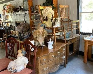 Mannequin Heads with Handmade Sheep Wool Hats and wigs (Hats and Wigs sold Separately)  Two chests One on right has Door that needs to be reattached, Antique Chairs