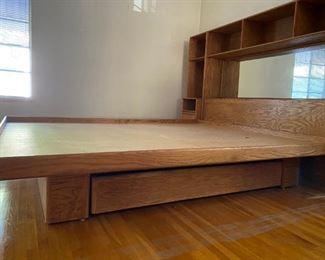 Vintage Elm Solid Wood Storage Bed Cal King