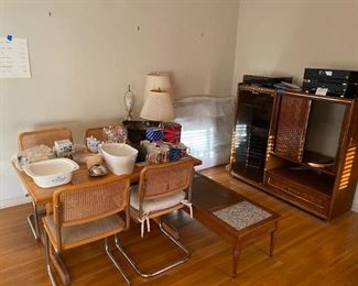 Cesca Chair, Table, MCM Entertainment Cabinet, Lamps, Kitchen items, Audio equipment