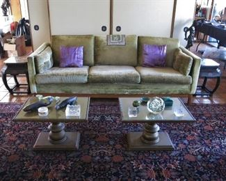 Mid-Century Sofa w/ Teak Base; Pair of Mid-Century Hollywood Regency Pedestal Coffee / Side Tables; Pair of Vintage Chinese Lacqquered Side Table; American Persian-Style Sarouk Rug