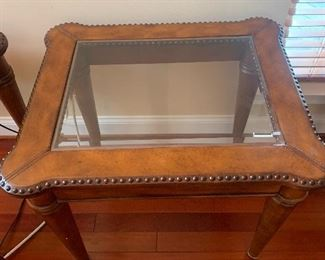 Leather trimmed side table —- see matching coffee table and Tuscan down filled sofa