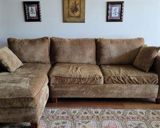 green sofa w/ chaise