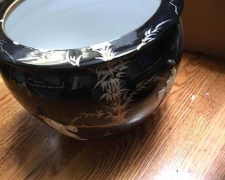 Large black Asian pot/planter