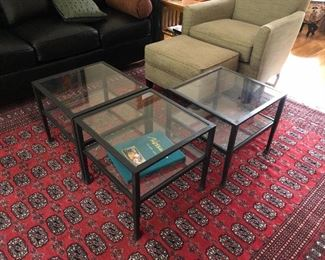 """Pottery Barn Bunching Tables (still listed on the PB website. Tanner 20"""" square bunching table) Use all 3 together as a coffee table or coffee & side table. Measures about 20"""" square on the top and 18"""" tall. Both glass shelves are removable for transport. Would prefer to sell the set of 3 together but will consider separating if I have interest in singles or a single/double. Asking $450 for the set of 3."""