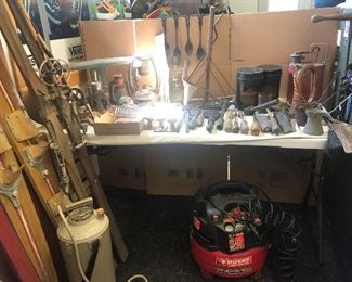 Vintage skis, crocks, gas cans, tools, metal utensils, and so much more.  Air compressors too!