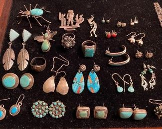 Sterling earrings, rings, brooches, and more.