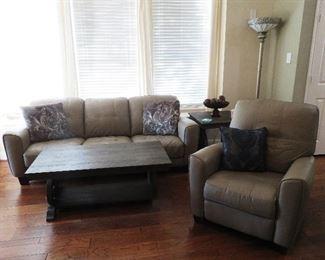 Sofa, chair, coffee table, end table, floor lamp