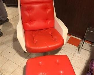 ALF SVENSSON Rare Retro Galaxy Space Swivel Orange Leather Chair with Ottoman