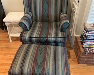 #3ChairBurgandy/Green Wingback Chair w/ottoman by Yellowstone Furn. Co. $ 75.00