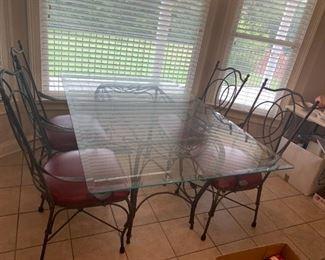 #1TableGlass Top Table w/metal Base w/4 chairs   42x65x30 $ 175.00