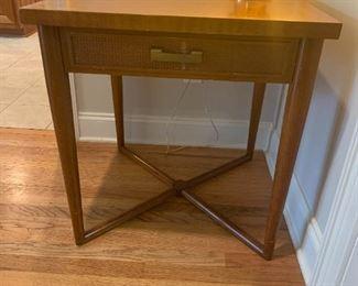 #7TableMid-Century Style Square Table w/cross Leg w/1 drawer  26x26x27 $ 75.00