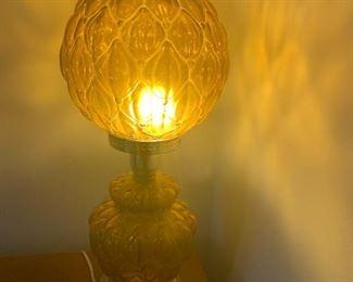 "#8LampAmber (2 pc.) 2 globe Vintage Lamp  20"" Tall $ 75.00"