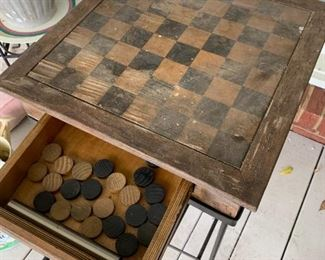 #13DeckOutdoor Checkerboard Table w/drawer on Metal Base 19sq x 27 9as is) $ 40.00