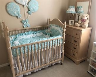 Practically new baby nursery Come with crib, dresser, hutch, and twin bed ( not shown) $600