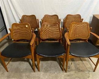 Set of 6 Arne Vodder teak and cane swing back chairs with brass hardware, $1995/set