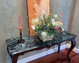 Granite Top Sofa/Accent Table, Floral Arrangement in Rustic Pot, Original Oil Painting By Canadian Artist by Nell Le Marsh!