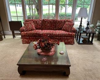 Stroheim & Romann Fabric Upholstered Couch, Solid Wood Coffee & End Tables!