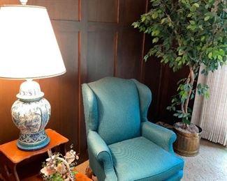 Beautiful Aqua wing Back Chair!