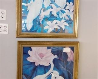 Pair of Prints with Gold Frames