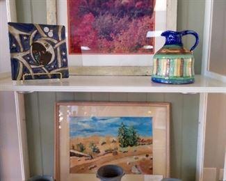 Framed photo of flowers Pottery  Landscape picture Festish Bowls