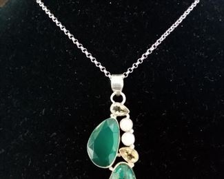 Sterling agate pearl necklace