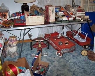 PEDAL CAR, RED WAGON & OTHER VINTAGE TOYS