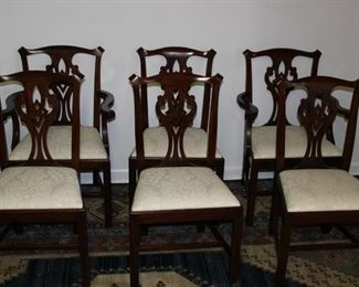 lot 6 101 dining chairs w ivory damask fabric.