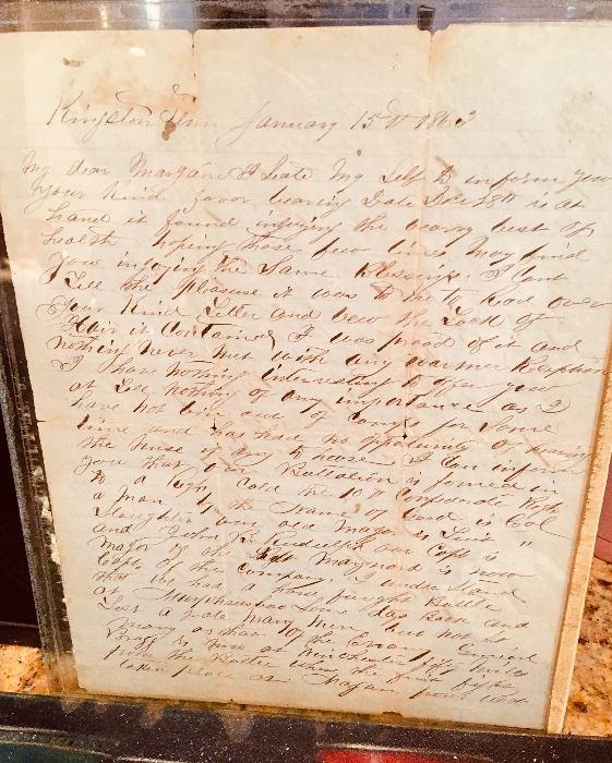 January 18, 1863 Civil War letters, George W Bridges (?) 10th Regiment, Tennessee Calvary Murfreesboro