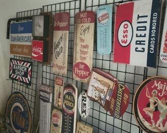 2 major cola trays Enamel Esso credit sign 2 side Enamel flange barber shop sign