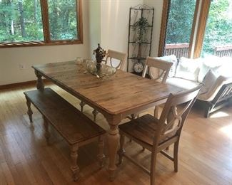 """Winners Only Inc. """"Devonshire"""" Dining Table. Measures 40"""" wide x 60"""" long with no leaf. Butterfly leaf is open in photo adding another 18"""" - so 78"""" in total. Bench is 14.5"""" wide x 60"""" long x 18.5"""" tall. 4 matching dining chairs. Floor to seat is 18"""". Floor to top of back is 38"""" tall. Very gently used.  Asking $600."""