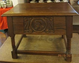 CARVED DANISH OR ENGLISH TABLE OR SEAT.