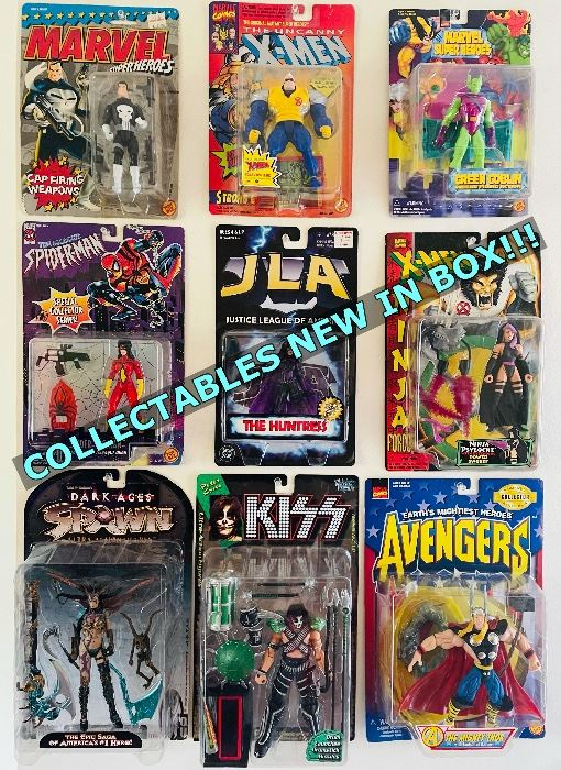 This is just a sneak peek of some of the many action figures I have collected over the years that are available for sale. New in Box!   These are not stock photos and are the actual items available for sale.