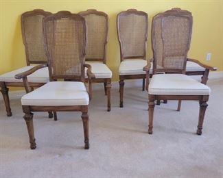 (6) Cane Back Dining Chairs with 2 Armchairs