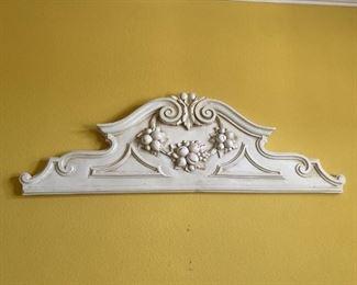 Decorative Distressed White Pediment with Fruit Motif
