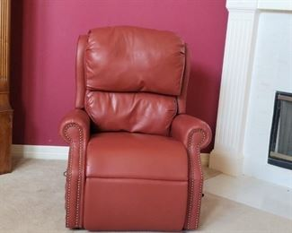 Red Real Leather Recliner Lift Chair by Golden