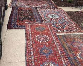 loads of Antique Persian Carpets - the one on the right green runner is sold