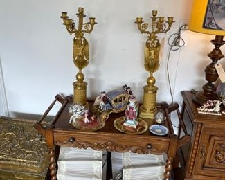 For scale - the 2 Dore French Gilded bronze Napoleonic Candelabra can convert to lamps (as seen in the first picture) - we have the mechanism and the lamp shades as seen below in the barley twist bar cart.