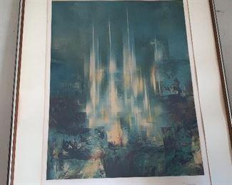 "Leonardo Nierman Watercolor ""Cities"""
