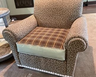 Fab leopard and plaid chair and ottoman: $700 both