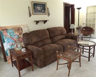suede double recliner couch, side tables, coffee tables, papsan chair